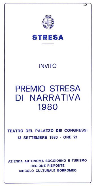 Invito Premio Narrativo di Stresa, 1980