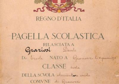 Pagella scolastica Dante Graziosi a.s 1926-27