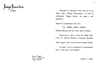 Presentazione La terra degli aironi Famija Piemonteisa, Torino 1973