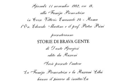 Presentazione Storie di brava gente, Roma 1982