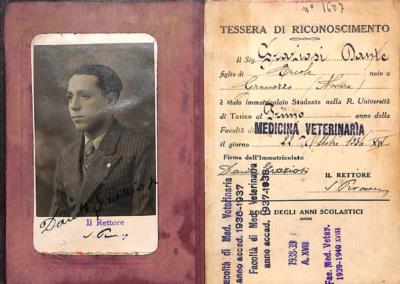 Tessera facoltà Medicina Veterinaria Università di Torino, 1936